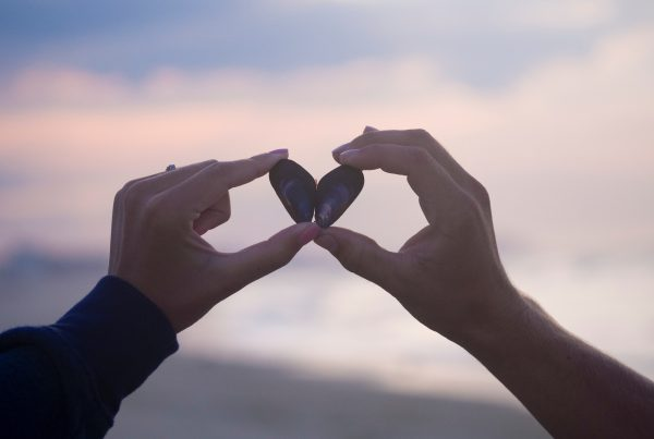 hjerte-muslinge-skaller-haender-strand-himmel-natur